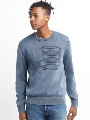 Gap Americana Stitch Pullover Crewneck Sweater in Combed Cotton