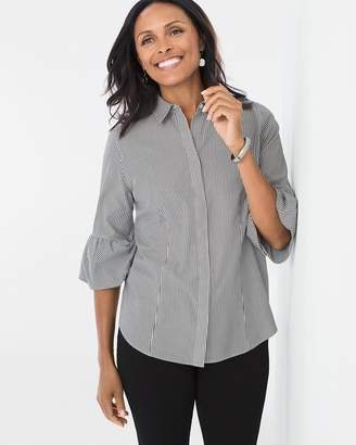No Iron Striped Bubble-Sleeve Shirt