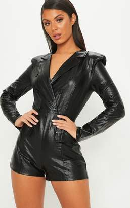 d47ed85ae8 PrettyLittleThing Black Cracked Metallic PU Tailored Playsuit