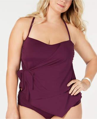 Becca Etc Plus Size Color Code Tankini Top Women Swimsuit