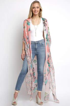 Juniper Blu Mixed Floral Long Rib Kimono