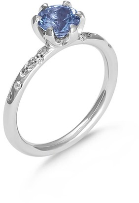 Hargreaves Stockholm Stardust - 18Ct Gold & Spinel Single Stone Ring With Diamond Set Shoulders