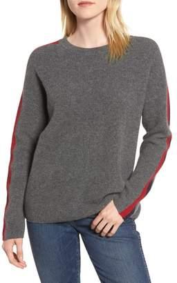 Velvet by Graham & Spencer Stripe Sleeve Cashmere Sweater