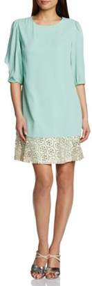 Almost Famous Women's Metallic Emboidery Ruffle A-Line 3/4 Sleeve Dress