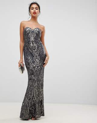 Bariano embellished patterned sequin sweetheart bandeau maxi dress in charcoal