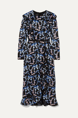 Giambattista Valli Ruffled Embroidered Sequined Organza Midi Dress - Blue