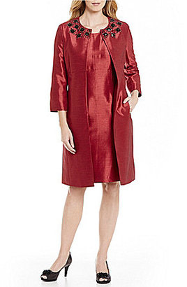 Albert Nipon Beaded-Neck 2-Piece Jacket Dress $375 thestylecure.com