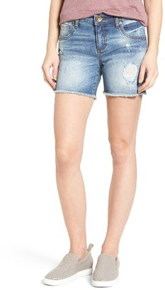 Women's Kut From The Kloth Gidget Frayed Hem Denim Shorts $69 thestylecure.com