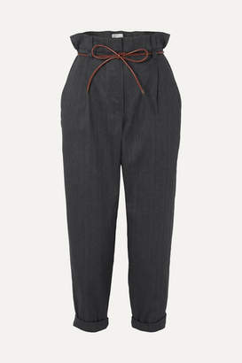 Brunello Cucinelli Oversized Leather-trimmed Herringbone Cotton-blend Cropped Pants - Gray