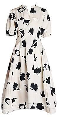Marni Women's Abstract Floral Gabardine A-Line Dress