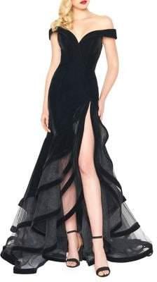 Mac Duggal Off-Shoulder High-Low Slit Gown