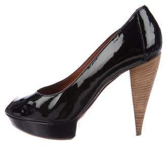 Lanvin Patent Leather Peep-Toe Pumps