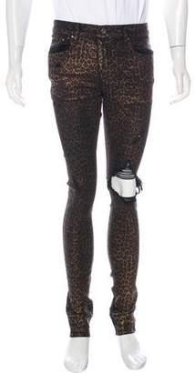 Amiri Distressed Animal Print Skinny Jeans