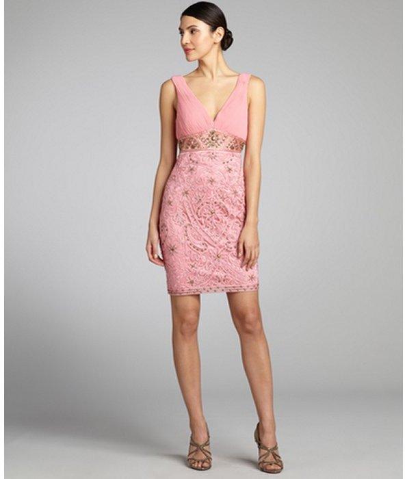 Sue Wong coral woven sleeveless beaded dress