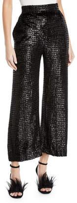Brandon Maxwell High-Waist Wide-Leg Metallic-Velvet Pants