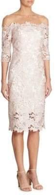 ML Monique Lhuillier Off-The-Shoulder Lace Dress