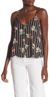 Lush Print Front Button Tank Top