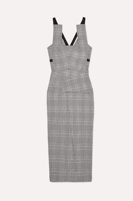 Roland Mouret Grosgrain-trimmed Checked Wool-blend Midi Dress - Gray