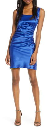 Sequin Hearts Ruched Stretch Satin Cocktail Sheath
