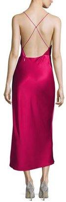 Jason Wu Crisscross-Back Satin Midi Dress, Raspberry $1,495 thestylecure.com