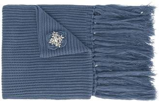 Twin-Set brooch embellished fringed scarf