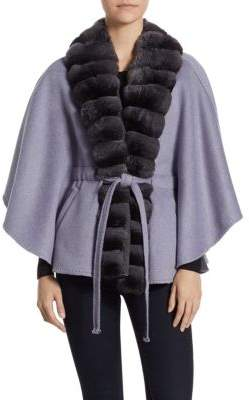 Guy Laroche Fur-Trimmed Cashmere and Wool Cape