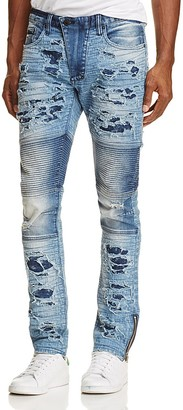 PRPS Goods & Co. Heavy Distress Moto Slim Fit Jeans in Indigo $328 thestylecure.com