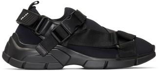 Prada Black Buckled Neoprene Sneakers