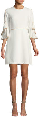 Taylor Bow-Sleeve Piped A-Line Dress