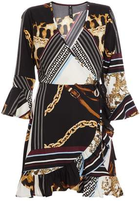 Quiz Cream and Black Scarf Print Wrap Dress