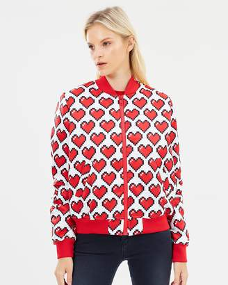 Love Moschino All-Over Pixel Heart Bomber Jacket
