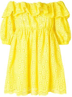MSGM off-the-shoulder broderie anglaise dress