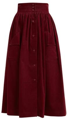 The Vampire's Wife Visiting Button Front Cotton Corduroy Midi Skirt - Womens - Burgundy