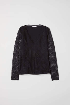 H&M Long-sleeved Lace Top - Black - Women