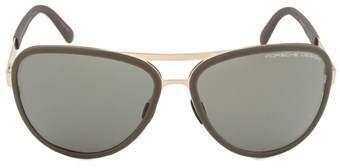 Porsche Design Design P8567 B Aviator Sunglasses | Rose Gold Frame | Brown Lens.