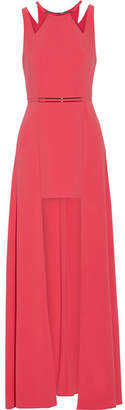 Halston Embellished Stretch Crepe De Chine Gown - Coral