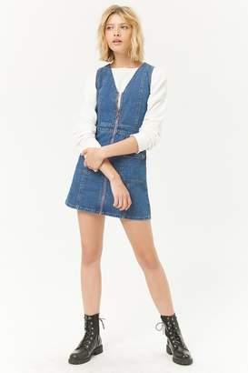 Forever 21 Zip Front Denim Mini Dress