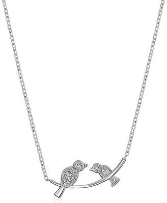 Sterling Diamond Accent Birds on Branch Pendant Necklace