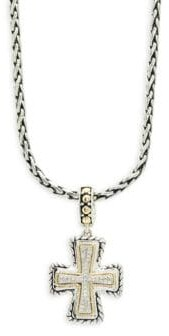 Effy Diamond, 18K Gold and Sterling Silver Cross Pendant Necklace, 0.12 TCW