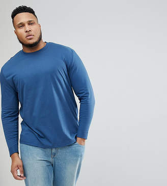 Asos DESIGN Plus roll long sleeve t-shirt in blue