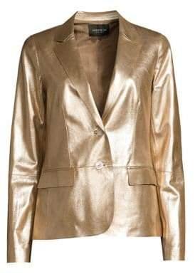 Lafayette 148 New York Camden Metallic Leather Blazer
