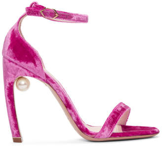 Nicholas Kirkwood Pink Velvet Mira Sandals