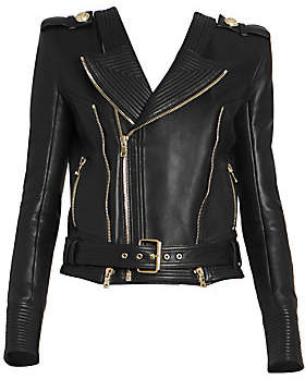 Balmain Women's Leather Moto Jacket