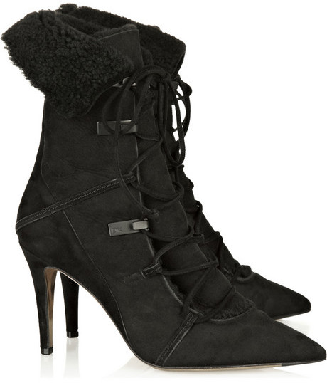 Donna Karan Shearling suede ankle boots