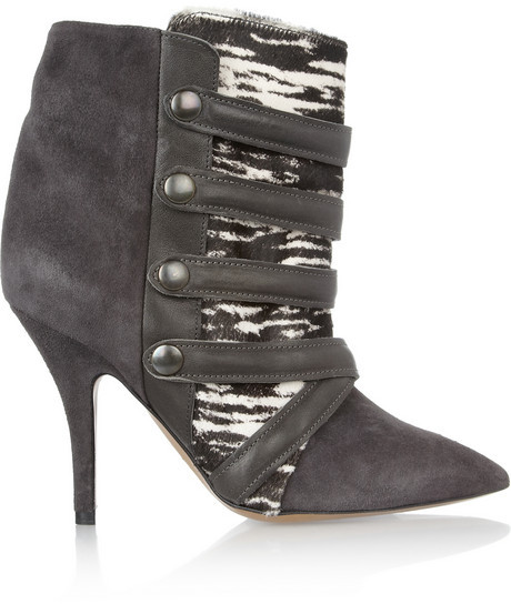 Isabel Marant Tacy suede, printed calf hair and leather boots