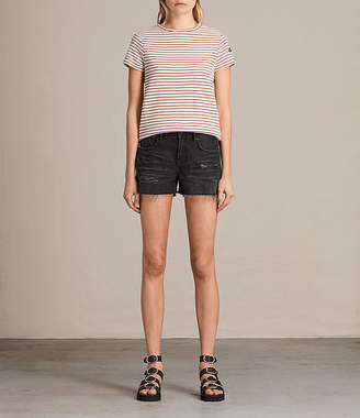 AllSaints Serene Embroidered Denim Shorts