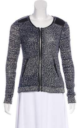 Ella Moss Leather-Trim Knit Jacket