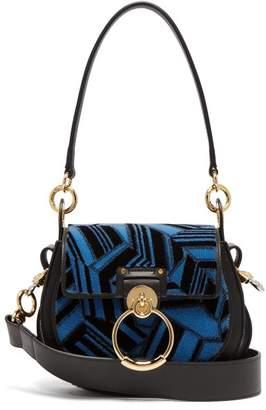 Chloé Tess Geometric Print Leather Cross Body Bag - Womens - Blue Multi