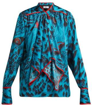 MSGM Leopard Print Satin Blouse - Womens - Blue