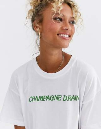 Asos Design DESIGN t-shirt with champagne drain motif